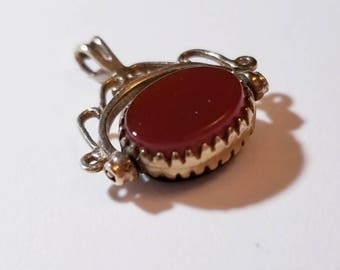 Vintage double sided fob with onyx and carnelian