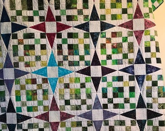 Stepping stone jewel tone and greens queen sized quilt