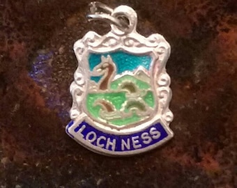 Loch Ness monster nessie vintage sterling silver enamel travel shield charm necklace pendant or keychain charm
