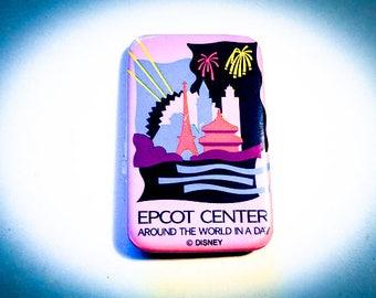 """Vintage Walt Disney Epcot Center Around The World In A Day 3"""" Pinback"""