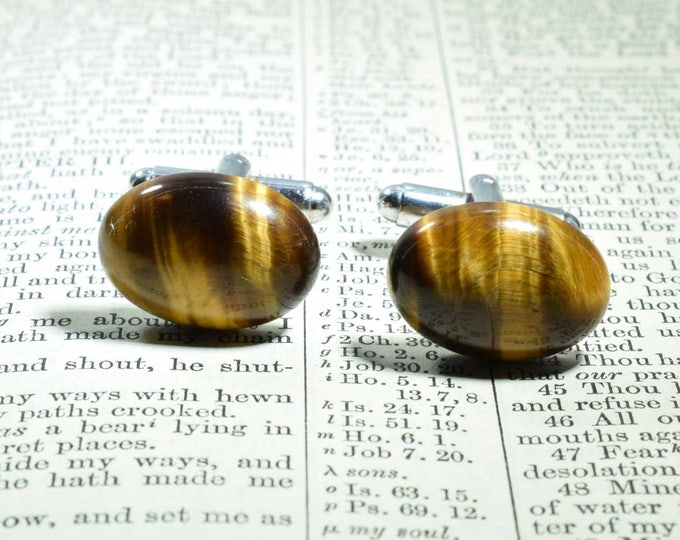 Tiger Eye Cufflinks, Gemstone Cufflinks, Silver Plated, Oval Cufflinks, Tiger Eye, Wedding Gift, Birthday Gift, Anniversary, Brown Cufflinks
