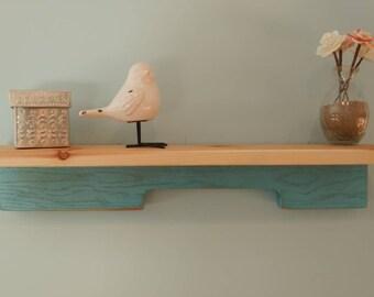 Wall shelf using pallet wood and cedar.