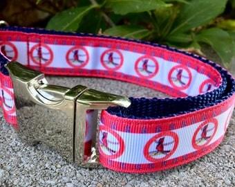 "St. Louis Cardinals 1"" Wide Dog Collar, MLB Baseball Dog Collar, Cardinals Dog Collar, Cardinals Dog Leash"