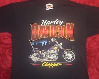 Vintage Authentic Harley Davidson Chopper T Shirt 80's