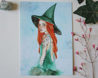 Art drawing print, witches, Postcard, illustration witch wicca