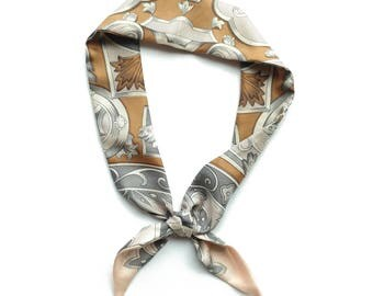 baby pink and gray vintage silk twilly scarf