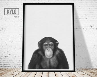 Chimpanzee Print, Animal Printables, Nursery Decor, Safari Animals, Jungle Animals, Wall Art, Instant Download, Animal Photography, Gift