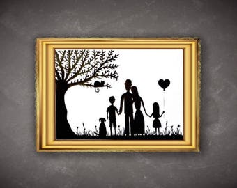 Personalised Family Silhouette Picture, Paper Cutting Portrait Made to Order Family Picture, Family Portrait, Anniversary Gift, Wedding Gift