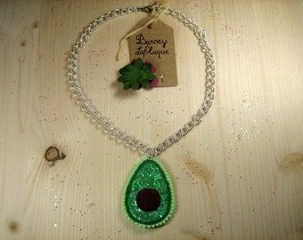 "Necklace ""half avocado"" felt and glitter"