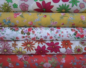 "set of 5 100% cotton fabrics coupons 50 x 47 cm ""Flowers"""