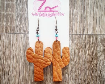 SALE! Leather cactus earrings