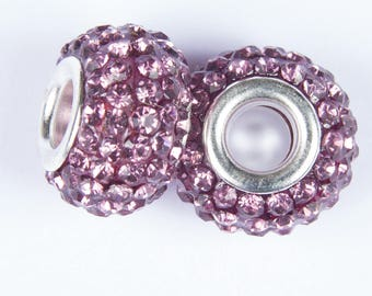 2 beads style European o15 with old crystals pink