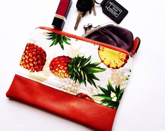 Pineapple Clutch Handbag with zip closure and  2 slip pockets