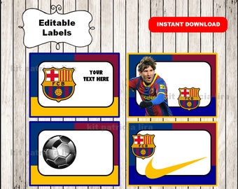 Fc Barcelona Printable Cards, tags, book labels, stickers, kids cards, gift tags, labeling, scrapbooking EDITABLE INSTANT DOWNLOAD