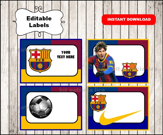 Fc Barcelona Printable Cards tags book labels stickers