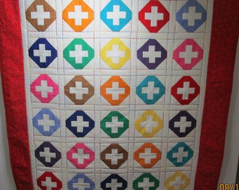 """Hand Made Baby Quilt, Crib Quilt, Baby Blanket, Handmade Quilt - Primary colored circles and pluses, Primary Colors - approx 39"""" x 45"""""""