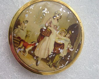 Vintage Yardley Brass Compact With Powder and Puff