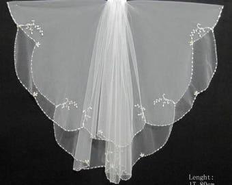 SIMONE -  Waist Length 2 tier Wedding Bridal Veil