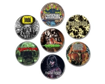 Grindcore band buttons set 7! (25mm, 1', heavy metal, terrorizer, brutal truth, napalm death and more)