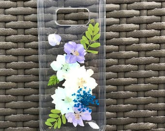 Dried Pressed Flowers Handmade Samsung Galaxy S8 Case, Floral Phone Case Samsung Galaxy S7 edge Clear Case - Blue Purple Flowers Design 028