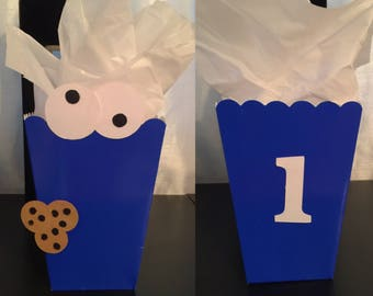Cookie Monster popcorn boxes sesame street popcorn box cookie monster favor box cookie monster goody bags 1st Birthday candy blue box