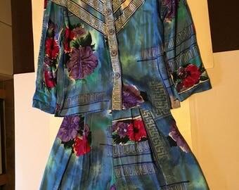 Vintage Ali Miles Women's  Floral Short/Short Set Size 8