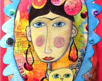 Frida 78 with Cat, original painting, Mixed media portrait, acrylic, painting, mixing technique