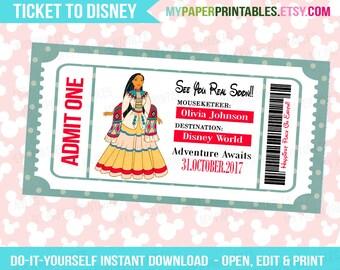 Pocahontas Disney Princess Printable Ticket To Disney DIY Personalize INSTANT DOWNLOAD Disney World Disneyland Surprise Disney Princess
