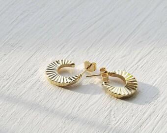 Sunburst hoop earrings, small gold hoops, statement earrings