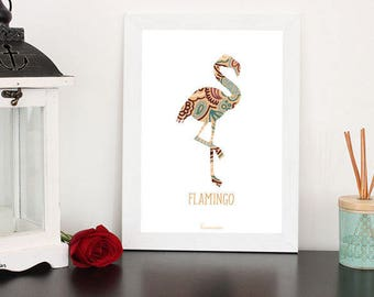 Flamingo poster pink A4 size (choices)
