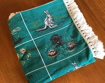 Tablecloth, Australian themed vintage barkcloth, green with white fringe