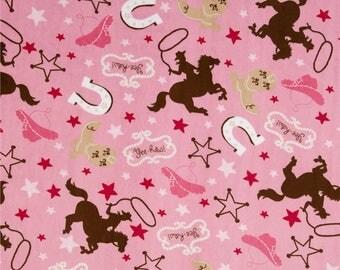 Pink Buckaroo Minky - Fuchsia Minky  - Horse  Minky - Horse Minky - Buckaroo Miny - Shannon Fabrics Minky - Ships in 1-2 Days