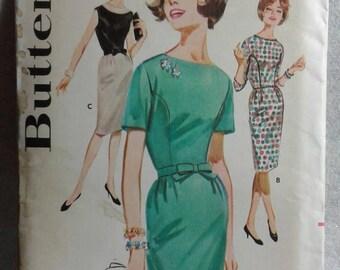 Vintage Butterick 2491 - Misses Slim Skirted Dress - Size 12 (1960's)