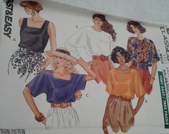 Butterick 4873; ©1990; Misses' Pullover Tops - XS, S, M