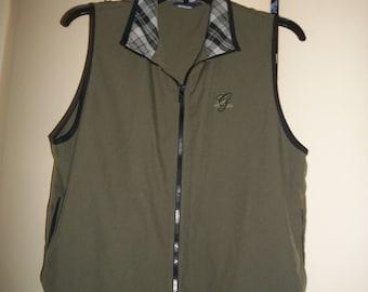Vintage Lily's of Beverly Hills Olive Green Zip up Golf Vest, Tennis Vest, Size M