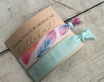 Bridesmaid box + Bridesmaid proposal hair tie favours.  Personalized boho feather & mint Wedding + Bridesmaid box proposal