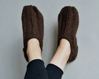 Brown knitted slippers alpaca handknit slipper socks wool knit slippers knit socks womens knitted socks wool