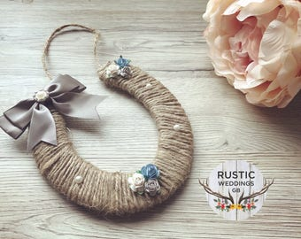 Twined horse shoe; Personalised Horse Shoe; Rustic Twine Wedding Good Luck Gift & Memento For Bride,  Wood Horse Shoe Rustic Vintage Country