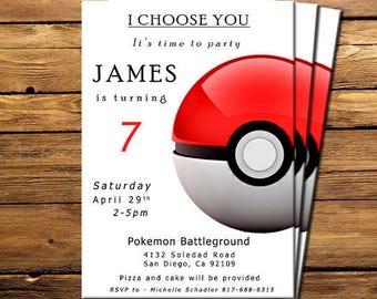 Pokemon Invitation, Pokemon birthday Invitation, Pokemon Invitations, Pokemon Invite, Pokemon Invitations