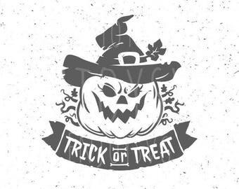 Trick Or Treat SVG Halloween SVG Trick Or Treat svg file Trick Or Treat cut file Cricut Cameo Scary Pumpkin svg Silhouette Funny Pumpkin svg