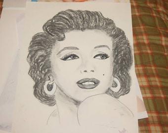 "hand drawn charcoal portrait""Marilyn"""