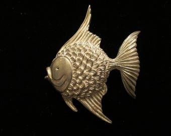 Vintage Sterling Silver Fish Pin Brooch