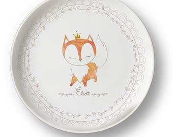 Large customizable Fox porcelain plate