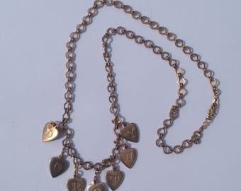 Beautiful Genuine Vintage WWII Sweetheart 1940's DOROTHY Charm Necklace , Dorothy Charm Necklace, Sweetheart Necklace