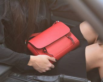 Red leather bag with tassels, Leather mini bag women, Leather little red bag, Little leather shoulder bag, Crossbody bag genuine leather