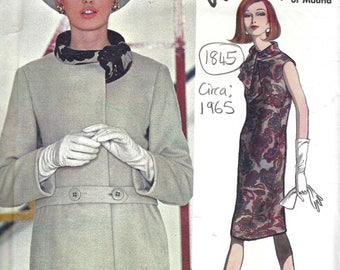 1965 Vintage VOGUE Sewing Pattern B38 Dress & Coat (1845)  By Pedro RODGIGUEZ 1539