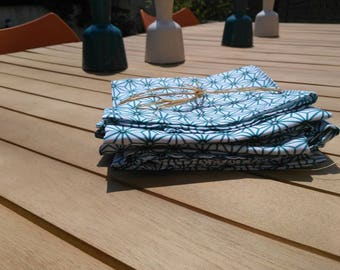 Diamond teal modern trendy set of 6 napkins