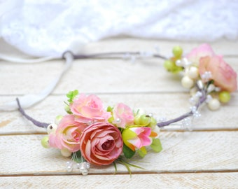 Floral headband Bridal hair wreath Wedding flower halo Flower girl crown Flower Girl Crown Bridesmaid Headpiece Floral Hair Wreath Headband
