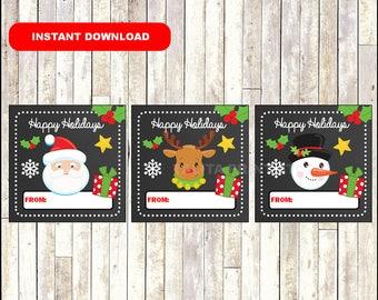 Christmas Santa Gift Tags - Christmas Snowman Favor Tags - Christmas Reindeer present tags - Santa tags - Snowman tags - Instant Download