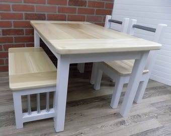 Kids Wood Table Set / Activity Table / Farmhouse / Handmade /